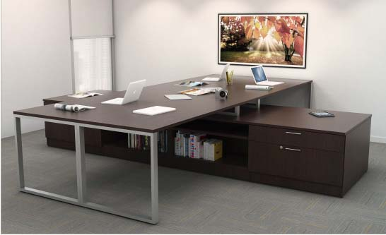 Collaborate Quad Station / Low Credenza, Barrys Office Furniture, North York, Toronto GTA