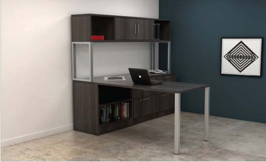 Post Leg L Shape with Hutch, Barrys Office Furniture, North York, Toronto GTA
