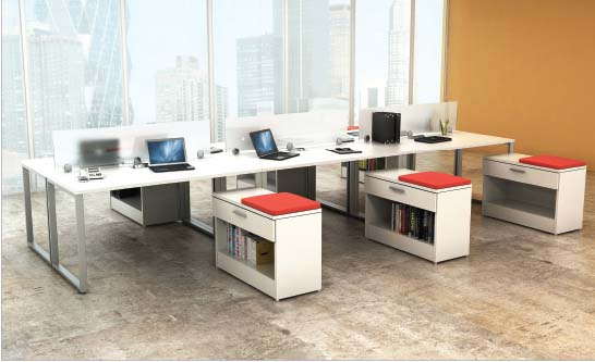 Collaborate 6 Station / Low Credenza, Barrys Office Furniture, North York, Toronto GTA
