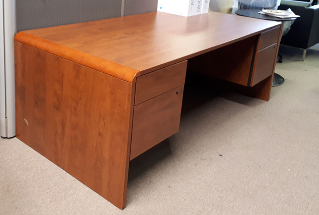 Used Double Hanging Pedestal Desk, side