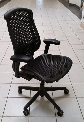 Used Herman Miller Celle. Colour Black, Front view. Ergonomic chair, North York, Toronto
