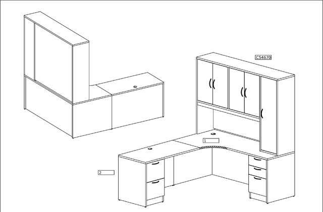 L Shape Desk with Storage Drawing, Office Furniture, Toronto GTA