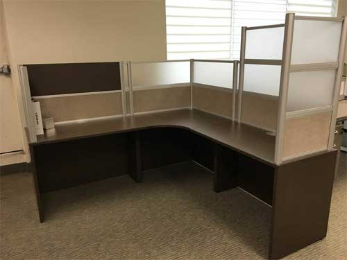 Used Free Standing Desk with Divider Panels, Office Furniture, Toronto GTA