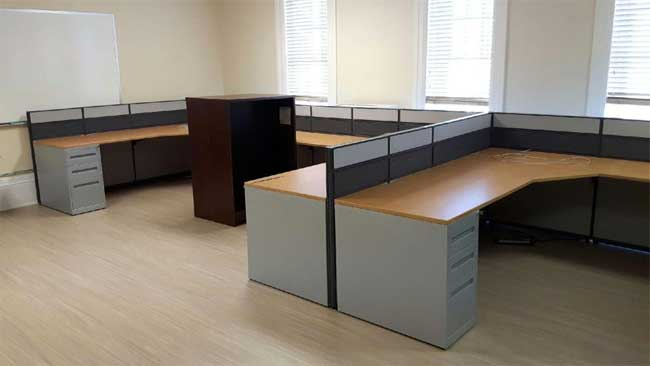 Used L Shaped Dual Workstation Cluster, Office Furniture, North York, Toronto