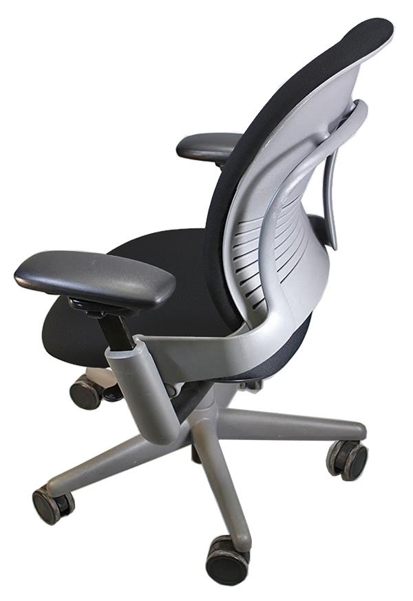 Silver frame and black fabric. Back View. Remanufactured Steelcase V1