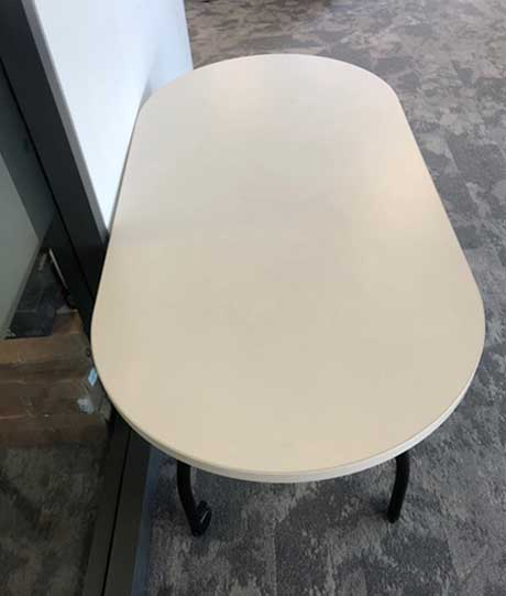 Used White Boardroom Table with Casters, Office Furniture North York