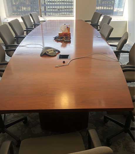 Used Wood Boardroom Boat Shape Table, Office Furniture North York, Toronto GTA