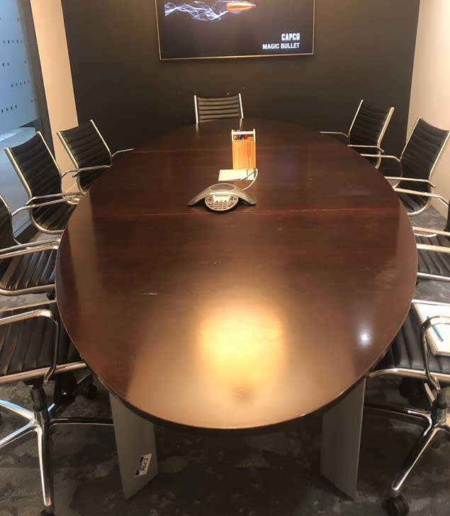 Used Wood Boardroom Racetrack Table, Office Furniture North York, Toronto GTA
