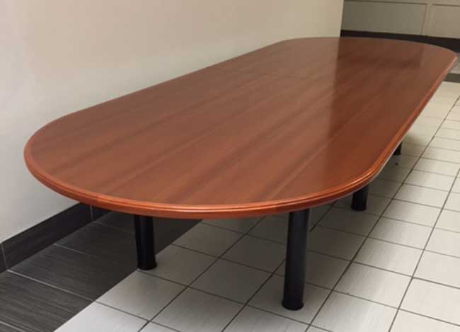 Used Wood Veneer Boardroom, Walnut Colour, Office Furniture Toronto GTA