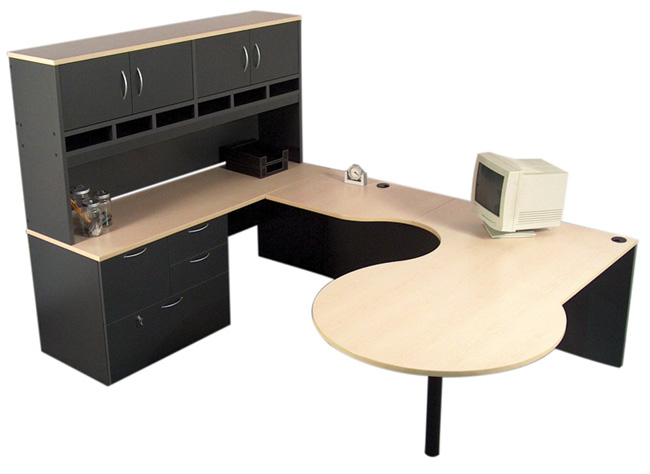 U Shape D Top with Hutch, Office Furniture Toronto