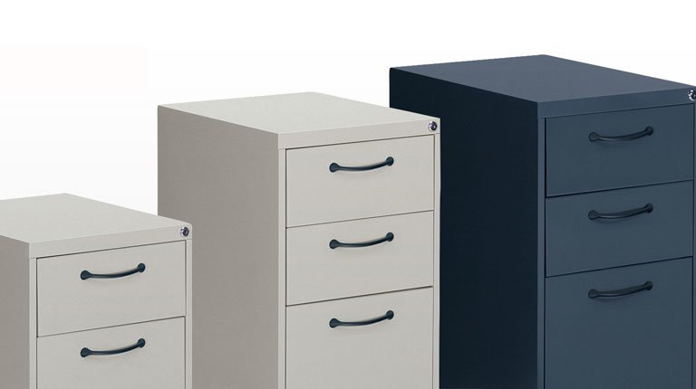 These versatile file pedestals come in two handle-styles and can stand on their own or support work surfaces. Specially designed pulls are soft to the touch and open easily. Available in three heights