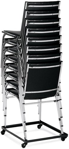 This dolly stacks up to 10 high Gallaxy chairs on.