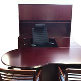 P-Top Cherry Wood Veneer U shaped Desk Suite