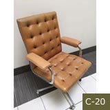 Leather Office Chair - Button-Tufted