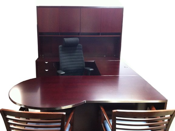 Used P Top Cherry Wood Veneer U Shaped Desk Suite Toronto