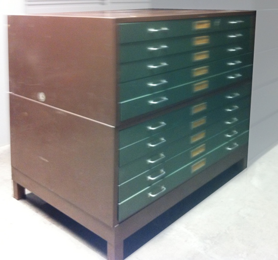 Used Vintage Blue Print Filing Cabinet, Office Used Cabinets, North York, Toronto
