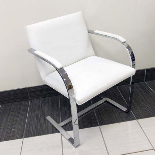 Chromed Flat bar BRNO - White Leather, Office Rental Chair, North York, Toronto