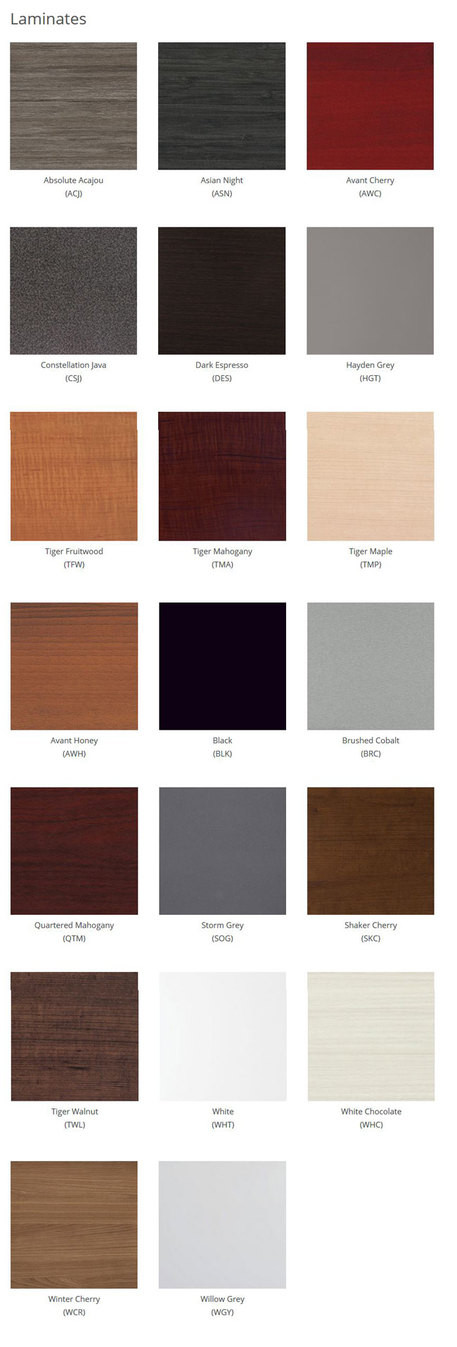 Desk Laminate Options