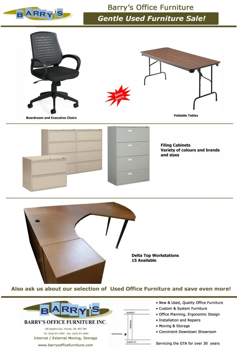 Sale Flyer: USed Chairs, Used Tables, Used Desks