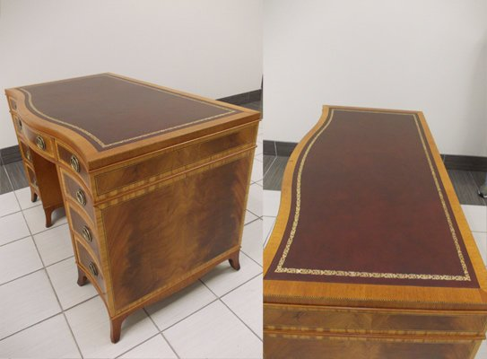 Wooden classic desk - restored - top, side view